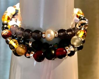 Gemstone Bracelet Botswana Agate 925 silver Freshwater pearl amber