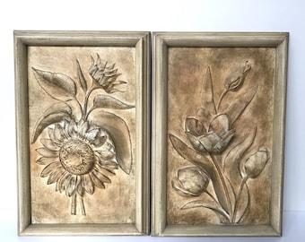 JO MEAD Vintage Ceramic Set of Botanical Framed Wall Hangings