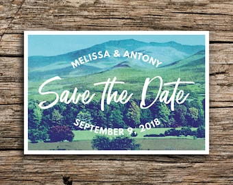 Green Mountain Save the Date Postcard // Mountain Wedding White Mountains New Hampshire Wedding Vintage Postcard Save the Dates Cards
