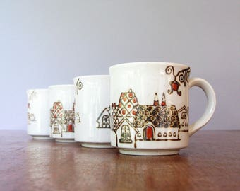 Four Vintage Japanese Mugs Charming Village Houses