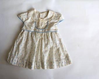 Vintage 1940s Dress 1950s Dress Blue Dress Floral Dress Peter Pan Dress Girls Dress Baby Girl Dress Party Dress