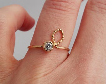 Offset Leaf Ring with Beaded Texture and Moissanite