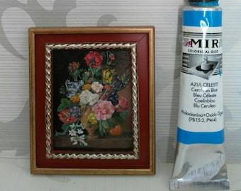 """Mini version painted oil of """"Flowers"""" of Jan Frans Van Dael."""