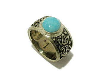 Arizona Turquoise Silver Ring with Lotus Flowers-Genuine Stone Ring - Natural Stone Ring - Palladium Plated Ring -Made in Your Size