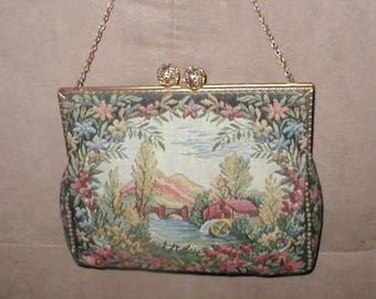 Antique 1930's FRENCH Needlepoint Tapestry Purse