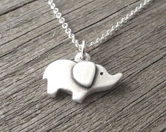 Tiny Elephant Necklace, Baby Elephant, Good Luck Elephant, Fine Silver, Sterling Silver Chain, Made To Order