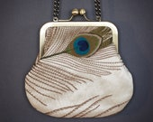 Peacock feather cross-body purse with chain handle, embroidered silk, clutch, feathers