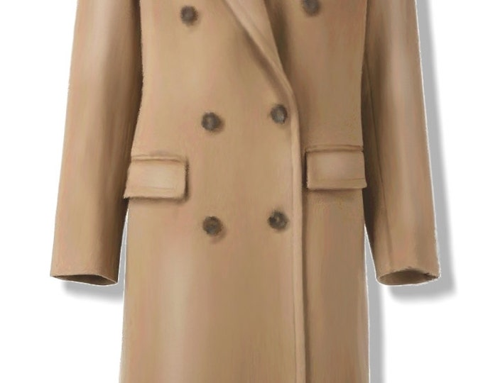 Women's double breasted coat pattern, medium size (44), PDF file, A4 pages