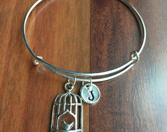 KIDS SIZE - Bird cage initial bracelet, bird cage jewelry, silver bird cage bracelet, aviary bracelet, gift for bird lover, bird bracelet