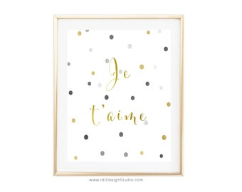 Je t'aime, Valentine's Day Gift, Cadre, Gift Ideas, French Father Birthday Gift, French Mother Print, Anniversary Print, French Print