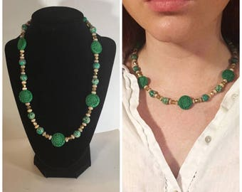 Green cinnabar and African opal necklace