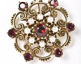 Seed Pearl & Garnets 14k Yellow Gold Downton Abbey Broach Pendant