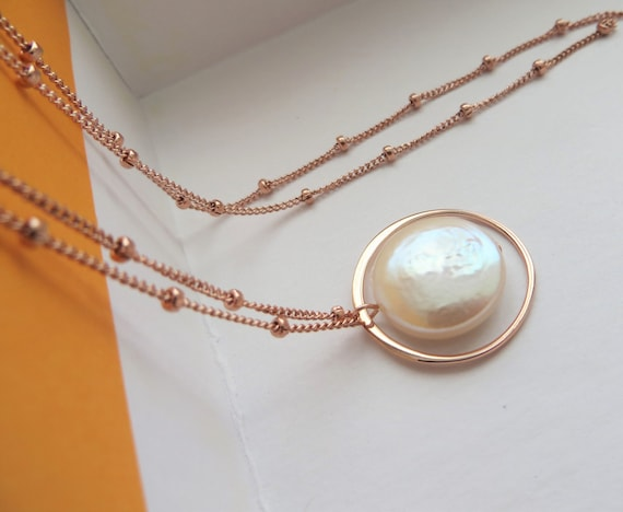 Mother of the bride gift eternity pearl necklace rose gold