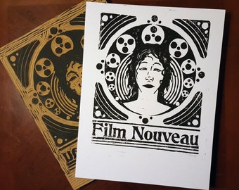 Film Nouveau - Original Block Print