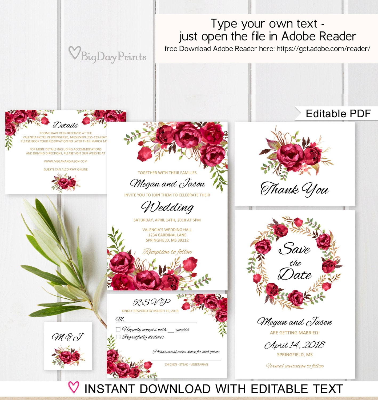 Red Wedding Invitation Template Boho Chic Wedding Invitation