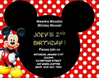 Mickey Mouse Birthday Invitation Digital File Only!