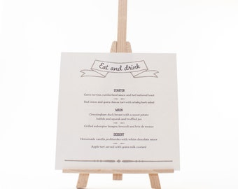 Wedding Menu Card - Estelle - Vintage Eat, Drink and be Merry