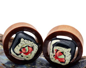 Double Flare Organic Wood Tunnel Plugs Sushi Roll
