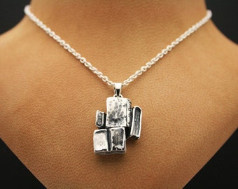 Sterling Silver Book Pendant