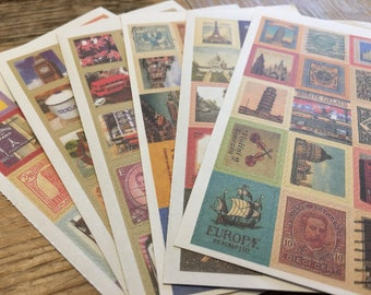 120 Postage Europe stamp Stickers. Vintage look, Great for your Artwork, Snailmail, Analog Life, Mixed Media