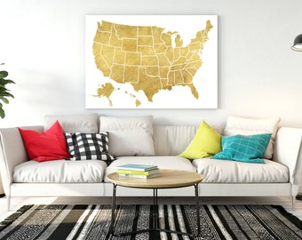 Gold room decor United States Map 50 states Gold USA map us map poster Map of united states USA map poster wall art poster  instant download