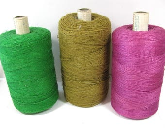 Linen Yarn, large spool, spring green, 13 to 15 ounces, 1 spool, weaving, craft supply