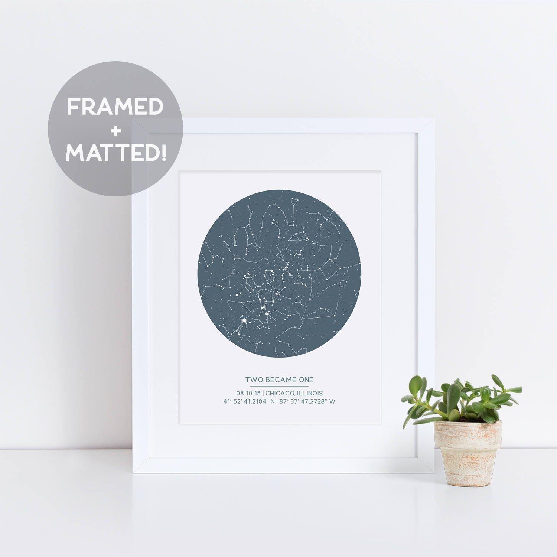 Custom Framed Star Map Night Sky Print Valentines Day Gift