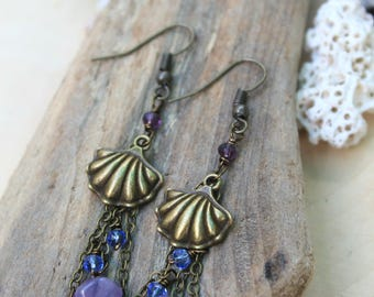 Bronze Shell Mermaid Earrings - Mermaid Jewelry - Beach Earrings - Gemstone Bead Chips - Mermaid Gifts - Mermaid Accessories - Under the Sea