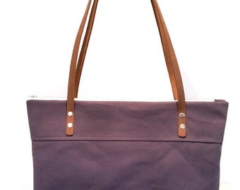 Stormy Purple Waxed Canvas Shoulder Bag, Day Bag, Zippered Tote Bag, Travel Tote, Book Bag, Purse