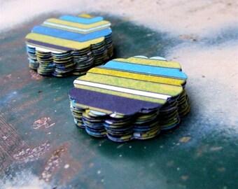 Tropical Island Striped Stickers, Handmade Paper Stickers, 20 Blue Green Stripe Scallop Sticker Seals, Tropical Party Decor