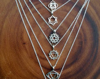 Chakra pendant sterling silver necklace