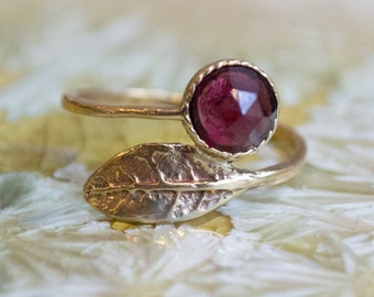 Thin ring, leaf ring, Golden brass ring, adjustable ring, garnet ring, gemstone ring, stack ring, dainty ring - Gone with the wind RK2062-2