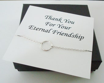 Infinity Twiggy Circle Silver Necklace ~~Personalized Jewelry Gift Card for Friend, Sister, Bridal Party, Family, Weddings