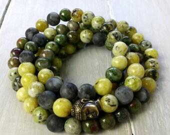YOGA MALA BRACELET with Yellow Turquoise, Matte Larvikite, Jasper, 108 Prayer Beads, Meditation Jewellery, Buddhist Mala Beads, Yoga Fashion