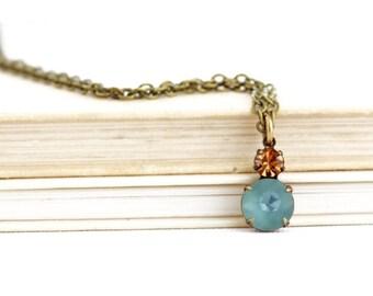 Vintage Wedding - Crystal Pendant - Vintage Jewel Pendant - Crystal Necklace - Rhinestone Necklace - Graduation Gift - Gift For Her