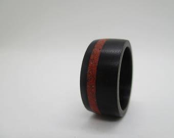Eben wood ring & red jaspis