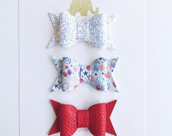 4th of July Bow, Faux Leather Bow, Glitter Bow, Baby Gift Set, Toddler Headband, July 4th Bow, Bow Headband Set, Bows for Newborns