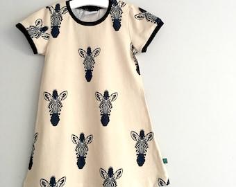 NEW! Zebras jersey dress, baby dress, toddler dress, organic baby clothes, girls dress, baby girl, girls clothes, baby clothes, zebra