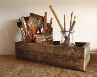 Rustic country wood box, mason jar holder, altered art supply organizers, rustic wedding tabletop, reclaimed recycled, farmhouse kitchen