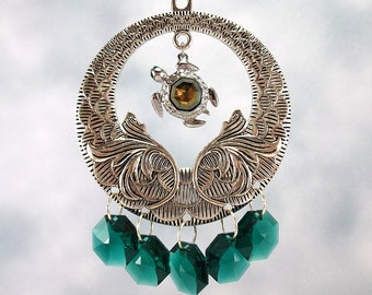 Swarovski Crystal Turtle Sun Catcher, Rear View Mirror Charm, Window Ornament, Rainbow Maker, Emerald Green Swarovski Crystals, Car Charm