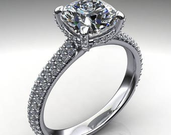 aubrey ring – 1.7 carat cushion cut NEO moissanite engagement ring, pave diamond band