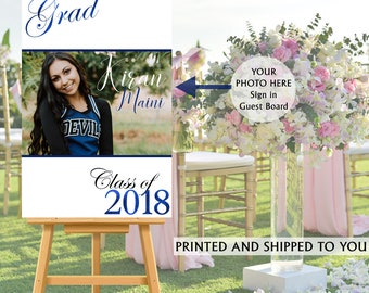 Graduation Photo Welcome Sign - Grad Party Sign in Board - Welcome Sign Congrats, Foam Board Sign, Welcome to the Party Sign, Class of 2018