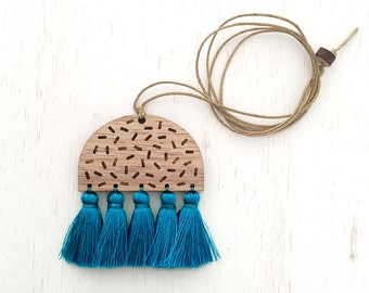 Amelia - Geometric Confetti Wood Necklace with silk tassels - Blue Teal - laser cut etched womens ladies jewellery jewelry nature blackwood
