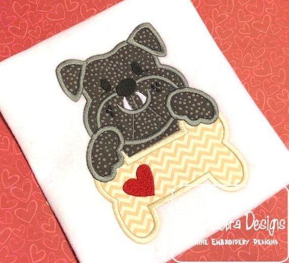 Bulldog with bone and heart appliqué embroidery design - bull dog appliqué design - bulldog appliqué design - dog bone appliqué design