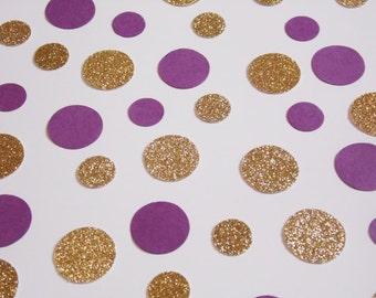 Purple and Gold Dot Confetti, Wedding Reception Decoration, Table Scatter, Glitter Confetti, Bridal Shower Decor