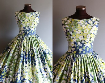 1950s Style Blue White Green Abstract Floral Print Full Pleated Skirt Cotton Dress