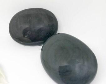 Velvet Sheen Black Obsidian Palm Stone - The Stone for Protection