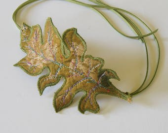 Fiber Art Bun Wrap Green Gold Acanthus Leaf Botanical Woodland Hair Accessory Natural History Nature Lover Gift for Her