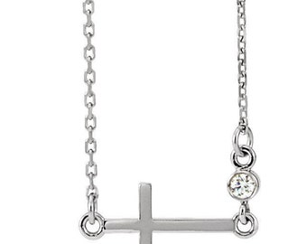 14K White gold 2mm Round Diamond Sideways Cross Necklace