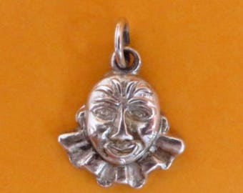 Vintage Clown Charm, Sterling Silver Charm, Clown Face Charm, Starter Charm, Charm Bracelet Gift